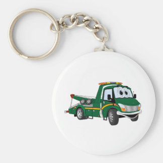 Green Cartoon Tow Truck Keychain