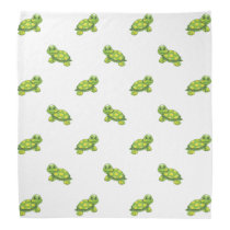 Green Cartoon Turtle with Yellow Dots Pattern Bandana