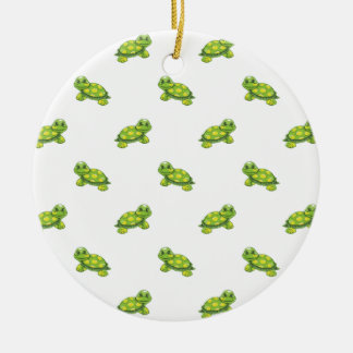 Green Cartoon Turtle with Yellow Dots Pattern Ceramic Ornament