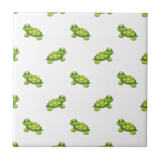 Green Cartoon Turtle with Yellow Dots Pattern Ceramic Tile