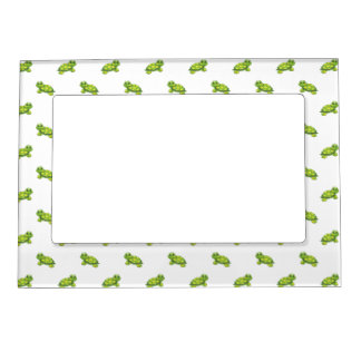 Green Cartoon Turtle with Yellow Dots Pattern Magnetic Photo Frame