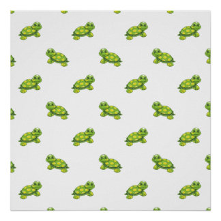 Green Cartoon Turtle with Yellow Dots Pattern Poster