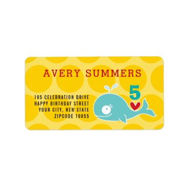Beach Themed Green Cartoon Whale Kid's Birthday Address Labels