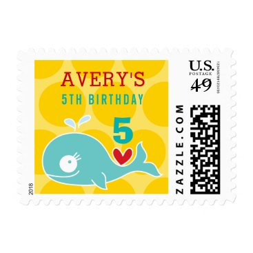Beach Themed Green Cartoon Whale Whimsical Girl Birthday Stamps