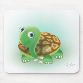 Green cartoons turtle mouse pad