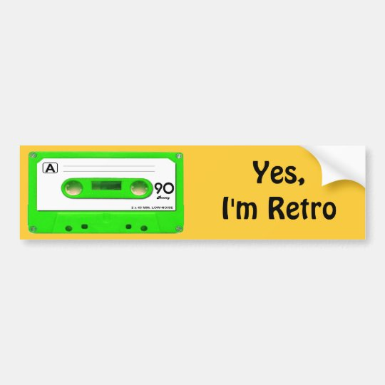 Green Cassette Tape Bumper Sticker