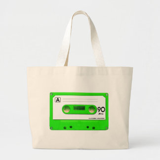 Green Cassette Tape Large Tote Bag