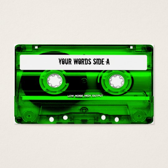 Green Cassette Tape Personalized Business Card