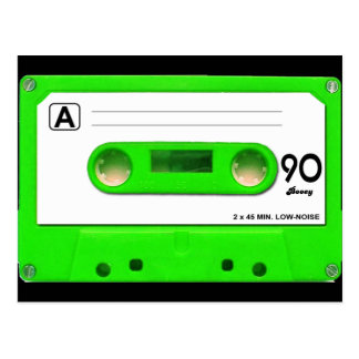 Green Cassette Tape Postcard