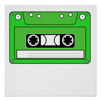 Green Cassette Tape Print