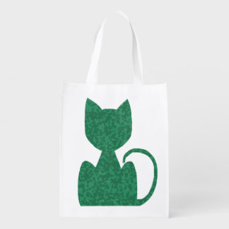 Green Cat CrystalKatz Reusable Tote bags Grocery Bag