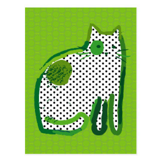 'green cat' digital painting Postcard