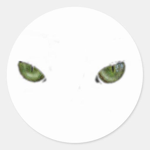 Green cat eyes classic round sticker