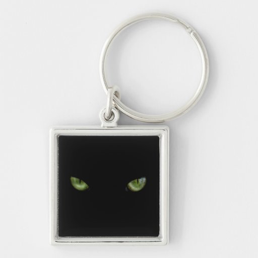 Green cat eyes Silver-Colored square keychain