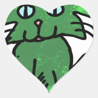 green cat heart sticker