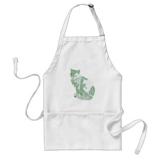 Green cat Japanese of harmony handle Pattern cat Adult Apron