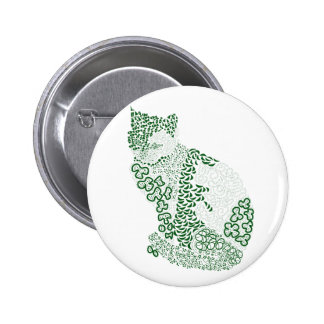 Green cat Japanese of harmony handle Pattern cat Button