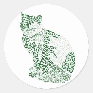 Green cat Japanese of harmony handle Pattern cat Classic Round Sticker