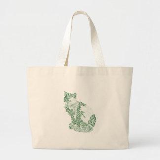 Green cat Japanese of harmony handle Pattern cat Jumbo Tote Bag