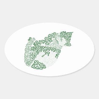 Green cat Japanese of harmony handle Pattern cat Oval Sticker
