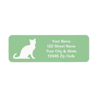 Green cat labels with custom return address