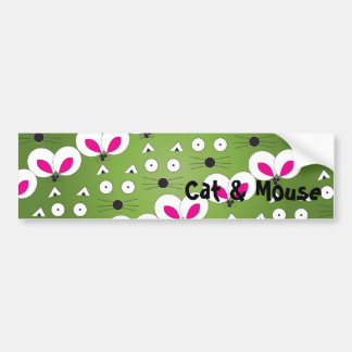 Green Cat & Mouse Bumper Sticker