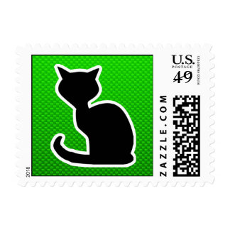 Green Cat Postage Stamp