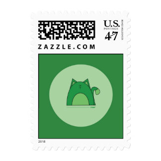 Green Cat Postage Stamps - Rawr Green Cat Stamps