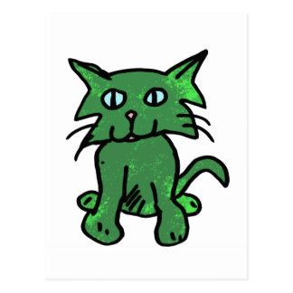 green cat postcard