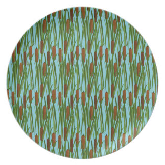 Green Cat Tails Floral Pattern Plate