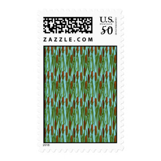 Green Cat Tails Floral Pattern Postage