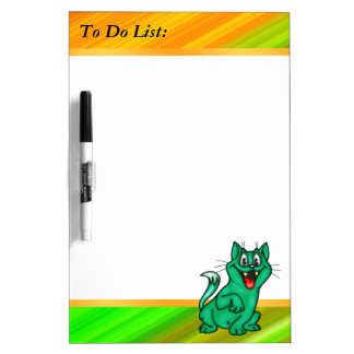 Green Cat To Do List Dry Erase Board