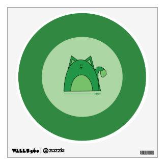 Green Cat Wall Decal - Cute Green Cat Decal