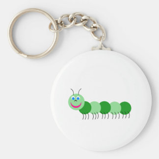 Green caterpillar basic round button keychain
