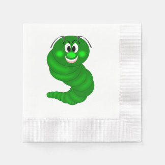 Green caterpillar cartoon coined cocktail napkin