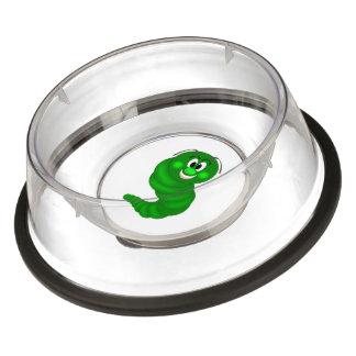 Green caterpillar cartoon pet bowl