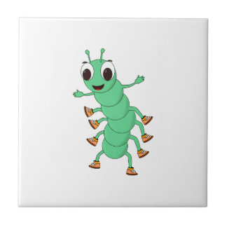 Green Caterpillar Ceramic Tile