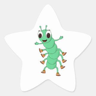 Green Caterpillar Star Sticker