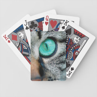 Green cat's eye close up bicycle playing cards