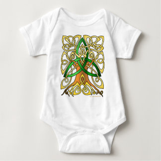 Green Celtic Art Trinity Tree Baby Bodysuit