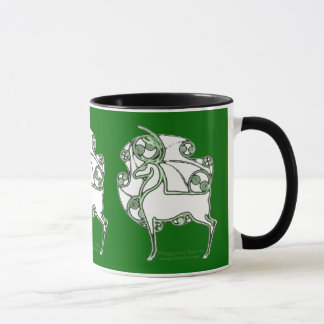 Green Celtic Christmas Deer Mugs