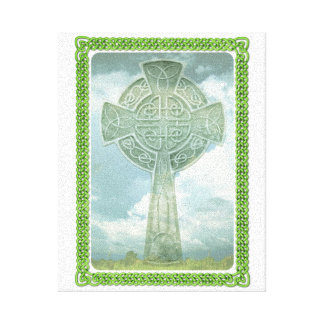 Green Celtic Cross And Clouds Canvas Print