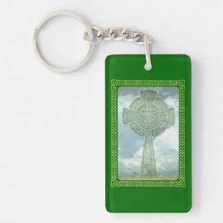 Green Celtic Cross And Clouds Double-Sided Rectangular Acrylic Keychain