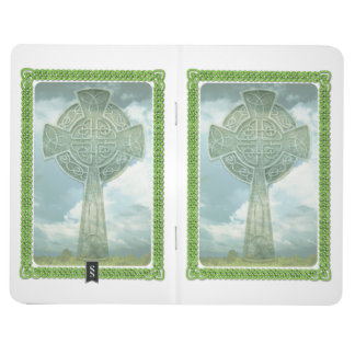 Green Celtic Cross And Clouds Journal