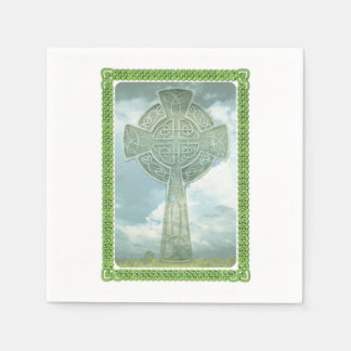 Green Celtic Cross And Clouds Paper Napkin