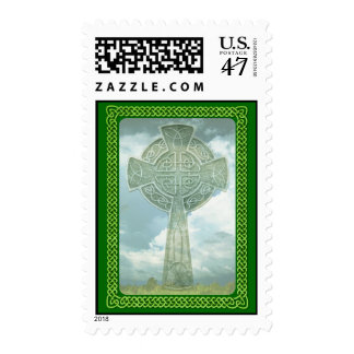 Green Celtic Cross And Clouds Postage
