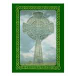 Green Celtic Cross And Clouds Poster