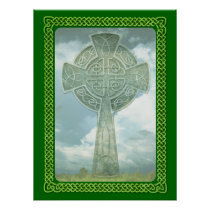 Green Celtic Cross And Clouds