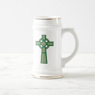 Green Celtic Cross Beer Stein Mug