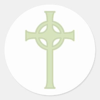 Green Celtic Cross Classic Round Sticker